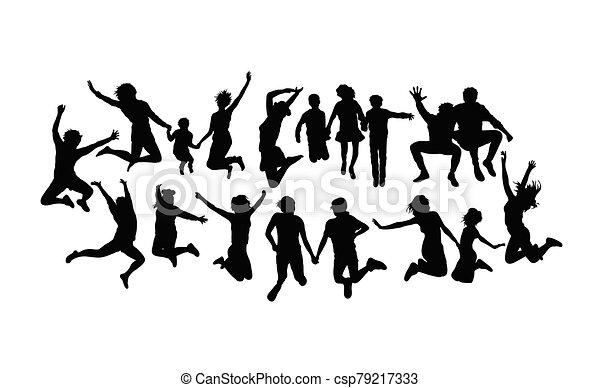 heureux, sauter personnes, silhouettes - csp79217333