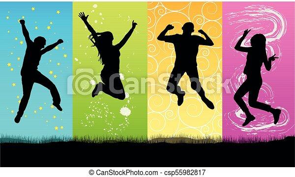 heureux, sauter, silhouette, gens - csp55982817