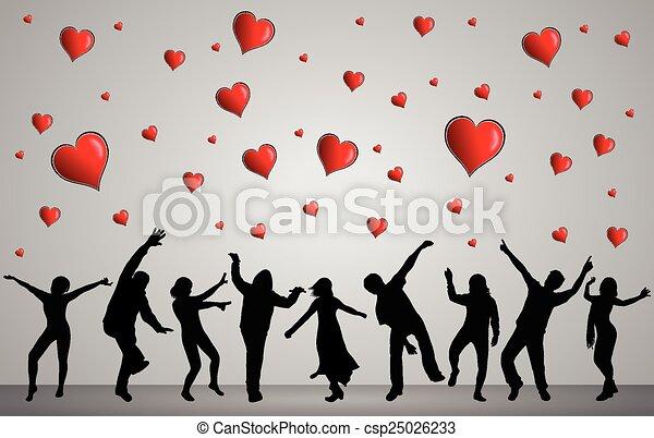 heureux, silhouettes, danser ensemble, gens - csp25026233