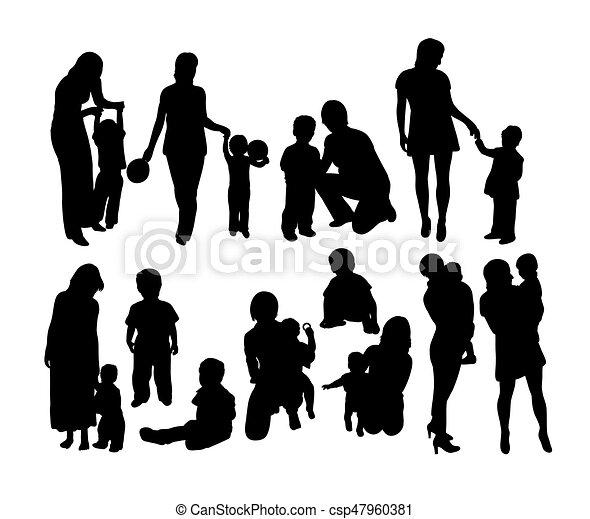 heureux, silhouettes, mère, famille, fils - csp47960381