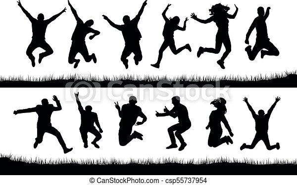 heureux, silhouettes, sauter, gens - csp55737954
