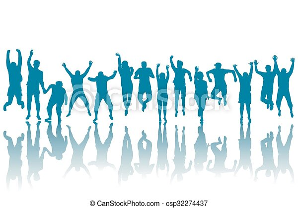 heureux, silhouettes, sauter, gens - csp32274437