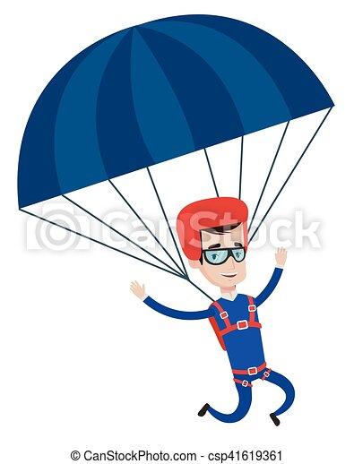 Heureux voler jeune homme parachute plat parachutiste - Dessin parachutiste ...