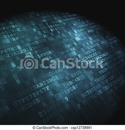 hex-code, 技術, concept:, 背景, 數字 - csp12738991