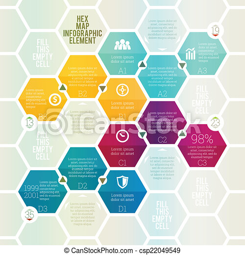 Hex Map Infographic Vector Illustration Of Hex Map Infographic