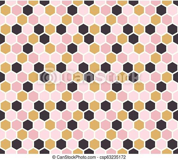 Hexagon Seamless Pattern Modern Geometric Style