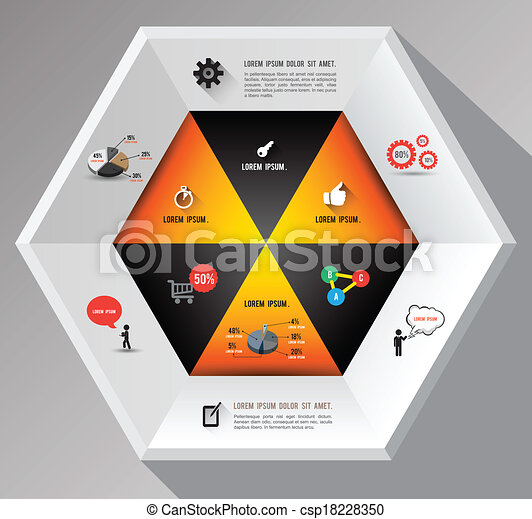 hexagon template with icons - csp18228350