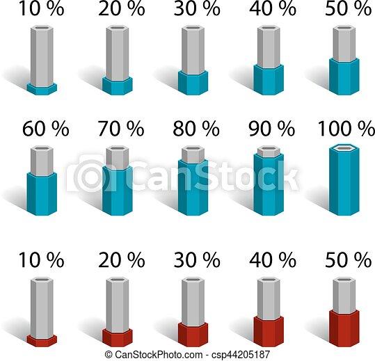 hexagonal bar percentage chart graph diagram illustration for the web