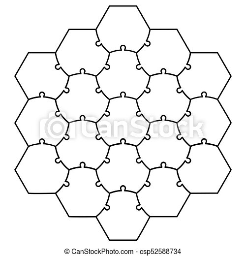 Hexagonal Jigsaw Puzzle Template Vector Form A Honeycomb