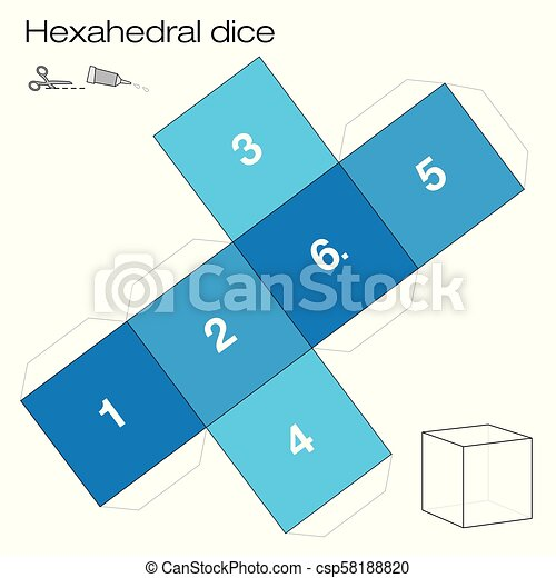 Hexahedral dice platonic solid template. Hexahedron template ...