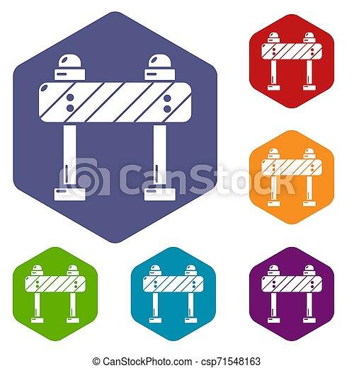hexahedron, 道の ブロック, アイコン - csp71548163