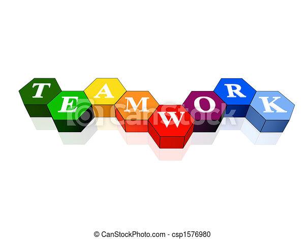 hexahedrons, couleur, collaboration - csp1576980