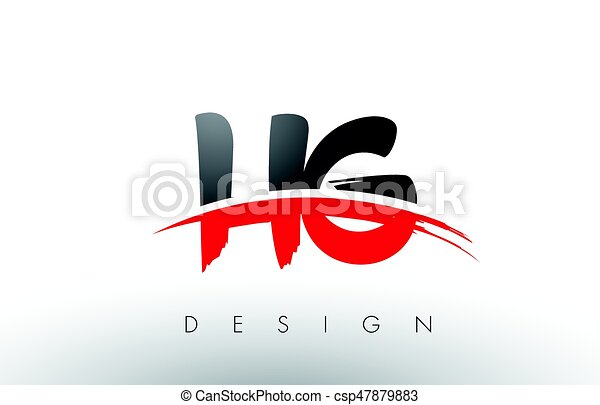 hg h g brush logo letters with red and black swoosh brush vector rh canstockphoto com