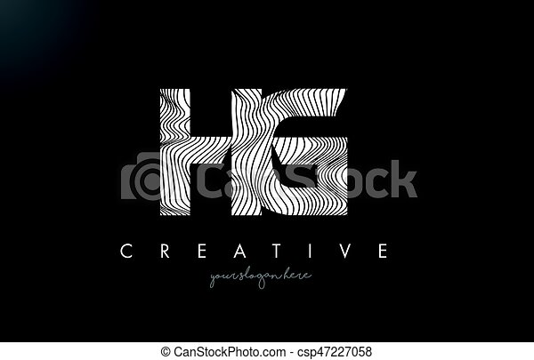 Line Design Clipart Free : Hg h g letter logo with zebra lines texture design vector