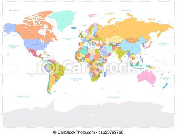 Hi detail colored vector political world map illustration. High ...