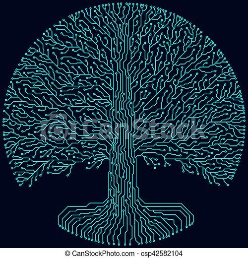 super mignon 8ae28 e3b86 Hi-tech circuit style round yggdrasil tree. Cyberpunk futuristic design.