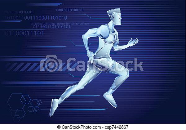 Line Art Vector Illustrator : Hi tech man illustration of iron running on vectors