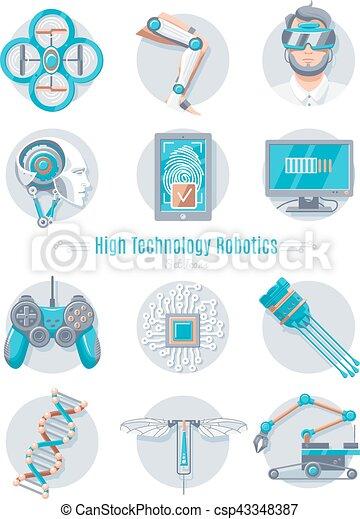 Hi Tech Robotics Icon Set Set Of High Technology Robotics Isolated