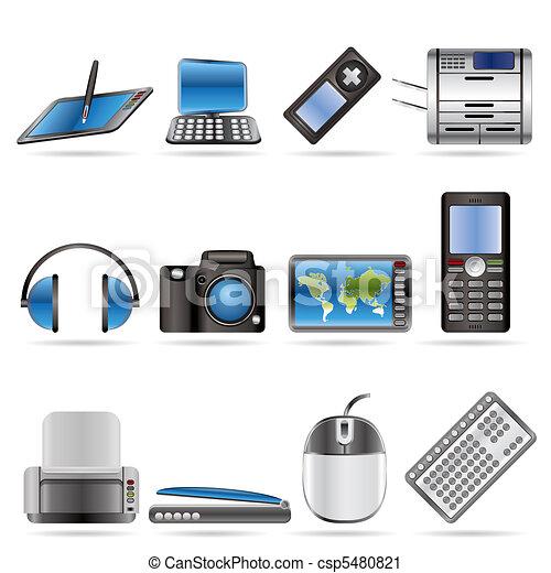 Hi-tech technical equipment icons  - csp5480821