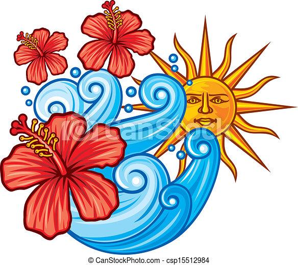 hibisco, flor sol, mar vermelho - csp15512984
