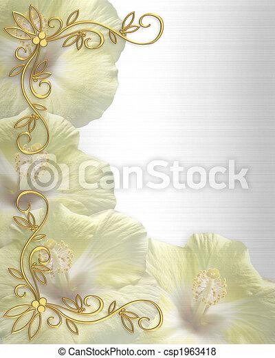 hibisco, partido, casório, ou, convite - csp1963418