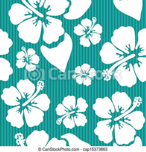 Patrón sin costura con la flor de hibisco hawaiana - csp15373863