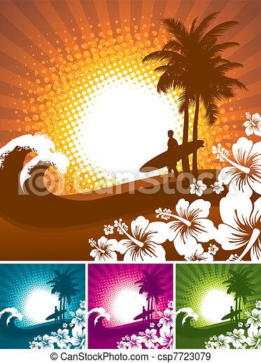 Hibiscus y siluetas surfistas en un paisaje de playa tropical - ilustración vectorial - csp7723079