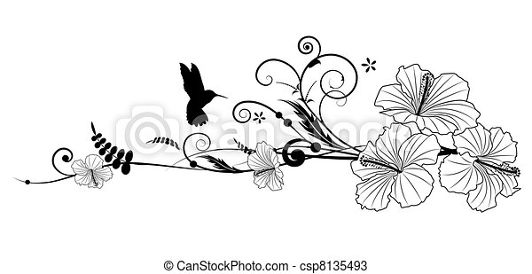 hibiscus and hummingbird vector floral composition with hibiscus in