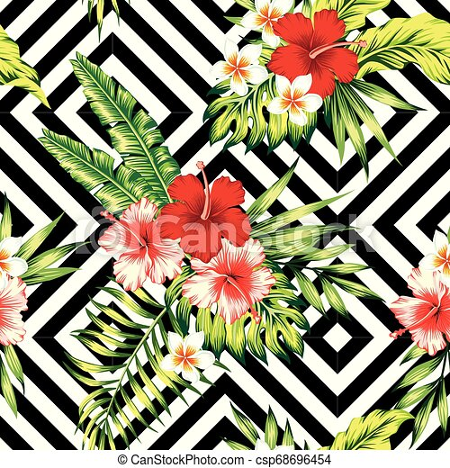 Hibiscus And Palm Leaves Tropical Pattern Black And White Geometric Background Tropic Painting Floral Wallpaper Red And Canstock Free flat tropical summer background. https www canstockphoto com hibiscus and palm leaves tropical 68696454 html