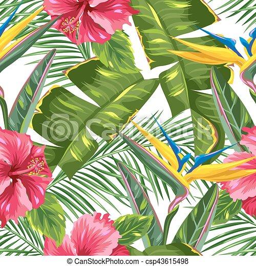 hibiscus, branches, fleur, paumes, modèle, feuilles, seamless, exotique, flowers., paradis, oiseau - csp43615498