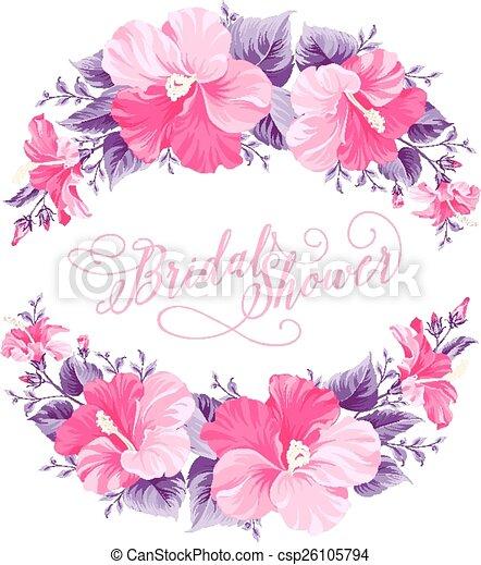 hibiscus, fleur, wreath. - csp26105794
