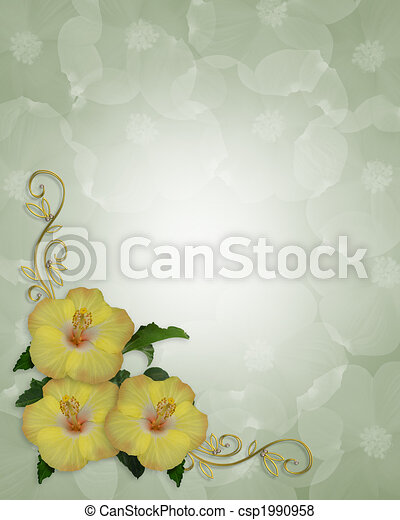 Hibiscus Flowers Border Design Image And Illustration Composition