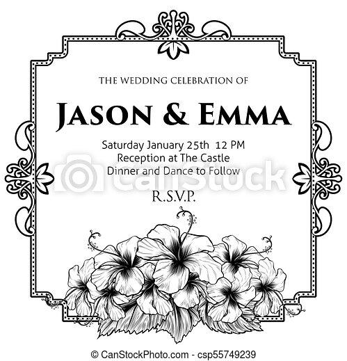Hibiscus Flowers Wedding Invitation Template