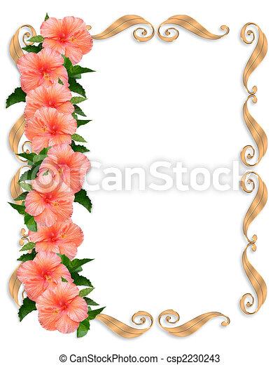 hibiscus, frontière florale, mariage - csp2230243