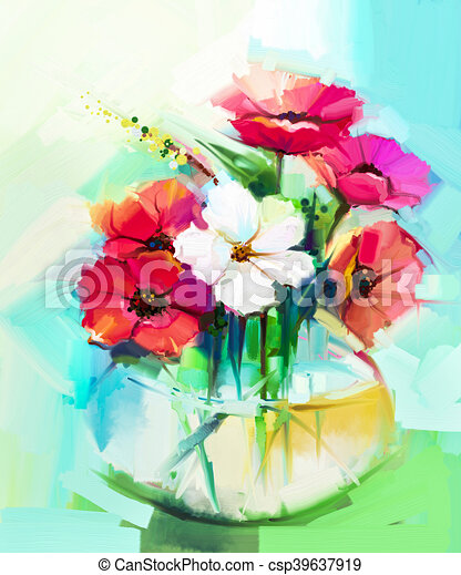Hibiscus Huile Bouquet Fleur Peinture Gerbera
