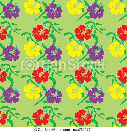 hibiscus seamless pattern - csp7612774