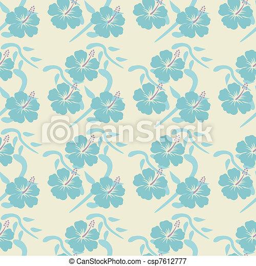 hibiscus seamless pattern - csp7612777