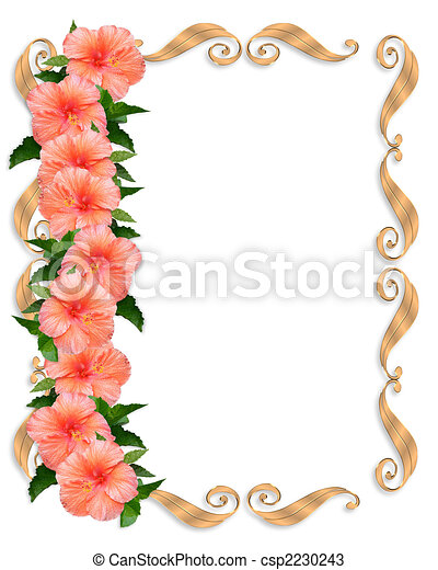 Hibiscus Wedding Floral Border - csp2230243