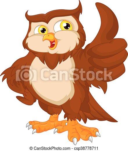 Hibou dessin anim oiseau haut pouce hibou pouce haut illustration oiseau vecteur - Dessin chouette rigolote ...