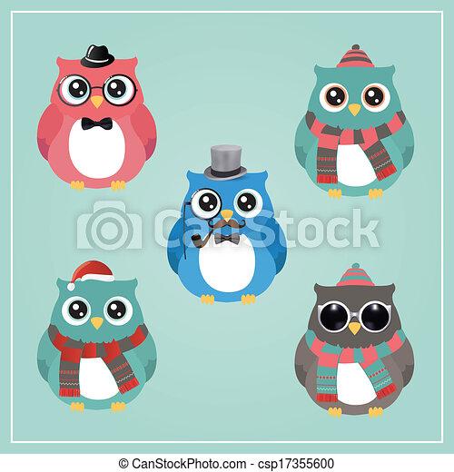 hibou, hipster, hiver, illustration - csp17355600
