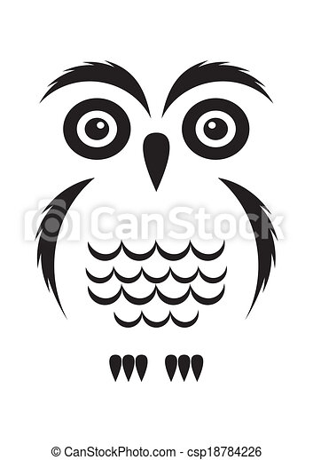 Hibou Noir Hibou Simple Vecteur Noir Blanc Dessin Anime Icone