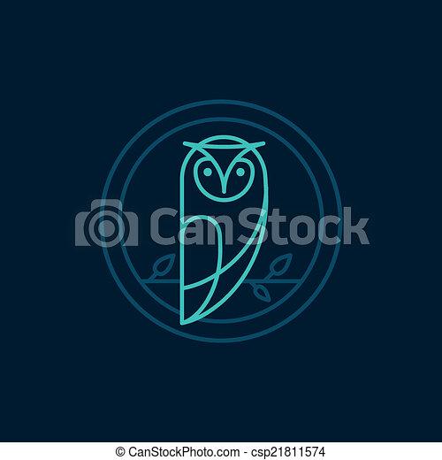 hibou, style, vecteur, contour, icône - csp21811574