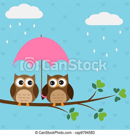 hiboux, couple, parapluie, sous - csp9794583