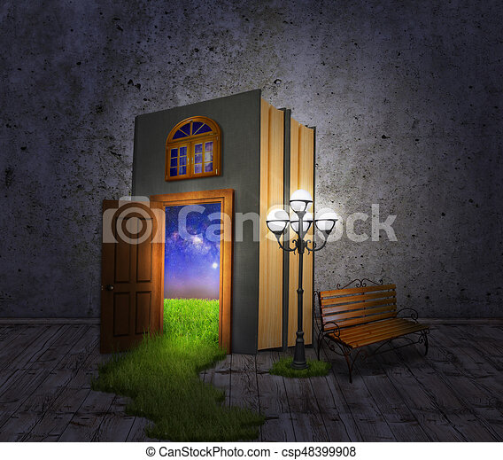 Hidden Room. Concept book, a lantern and a bench, with a door to the night glade. - csp48399908
