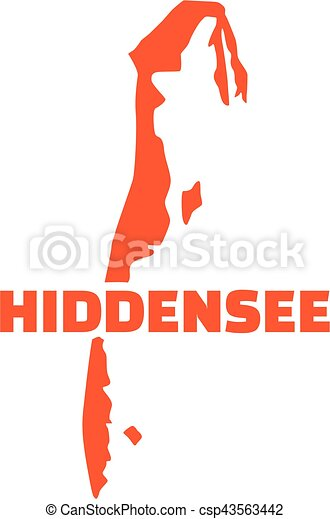 Hiddensee map silhouette with name - csp43563442