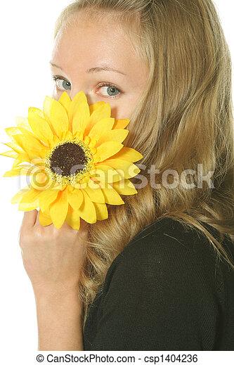 Hiding behing flower - csp1404236