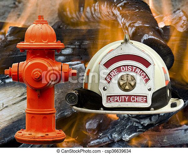 hidrante, chamas, fogo, sobre, bombeiro, fundo, chapéu - csp36639634