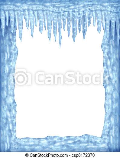 Congelado marco de hielo y hielo con espacio blanco - csp8172370