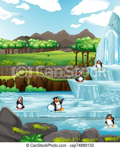 hielo, escena, pingüinos - csp74889133