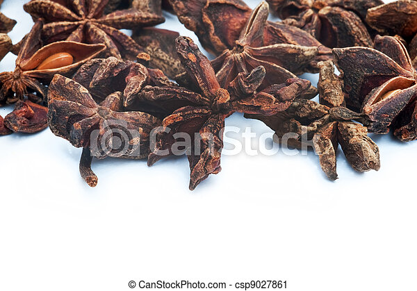 hierba, blanco, anís, estrella, plano de fondo - csp9027861